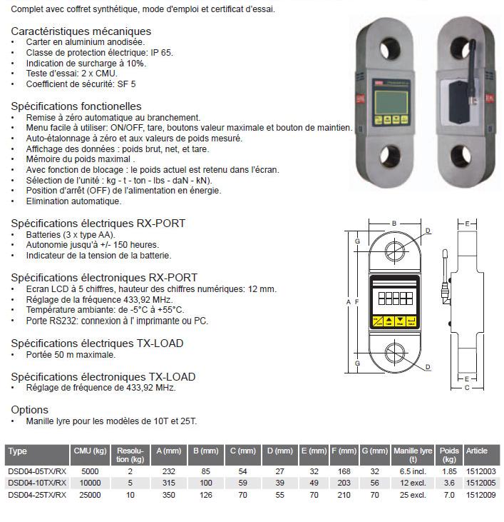 Dynamomètre REMA type 04 TX/RX commande à distance sans fil