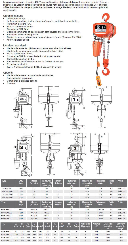 Palan électrique à chaîne Elephant type FAH/FBH 400v 3ph