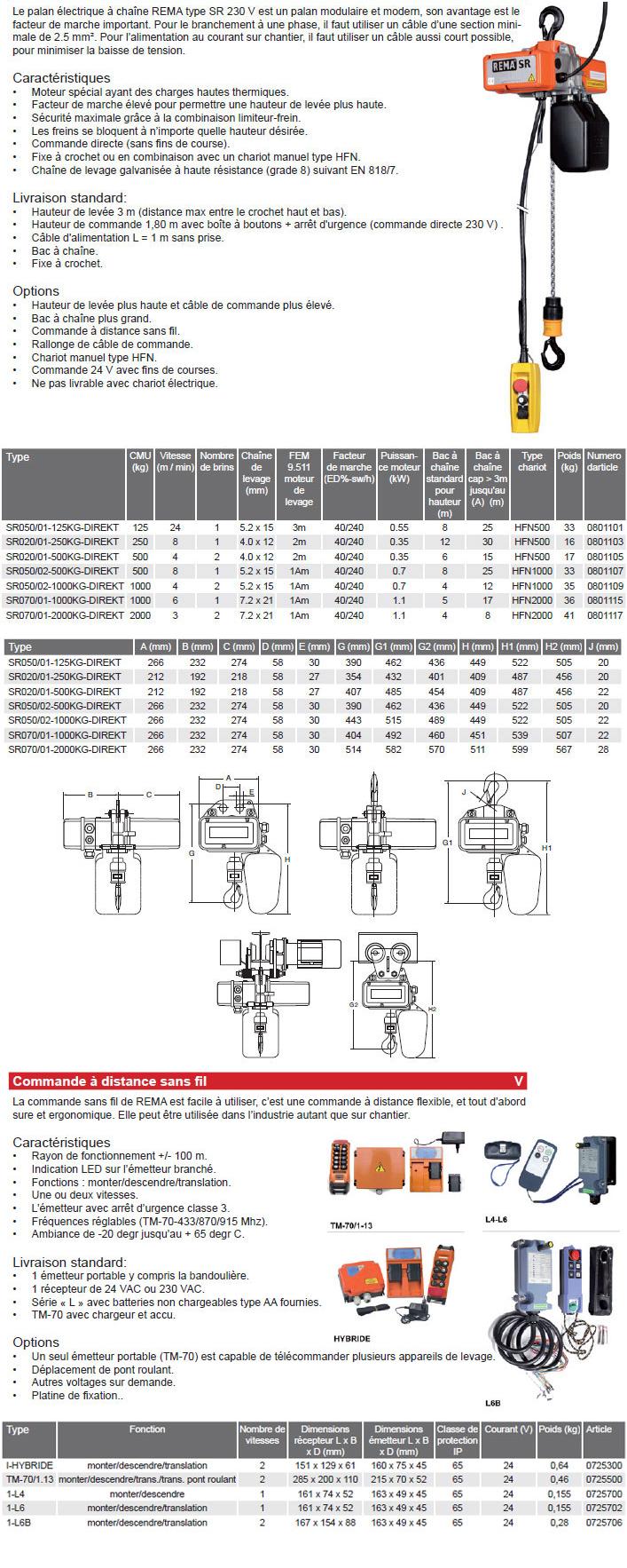Palan électrique à chaîne monophasé REMA type SR 230V